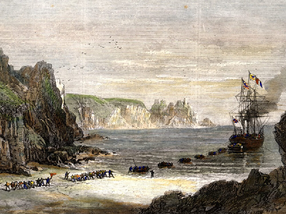 Vintage illustration of ship on the Cornish coast and transatlantic cable line being laid by workers