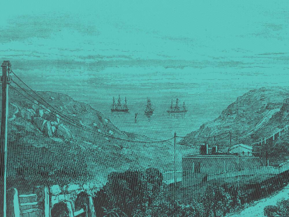 Vintage illustration of tall ships on Cornish coastline